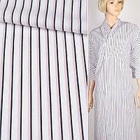 Коттон Хлопковая ткань рубашечный белый в синюю и тройную красную полоску, ш.150 итальянская ткань