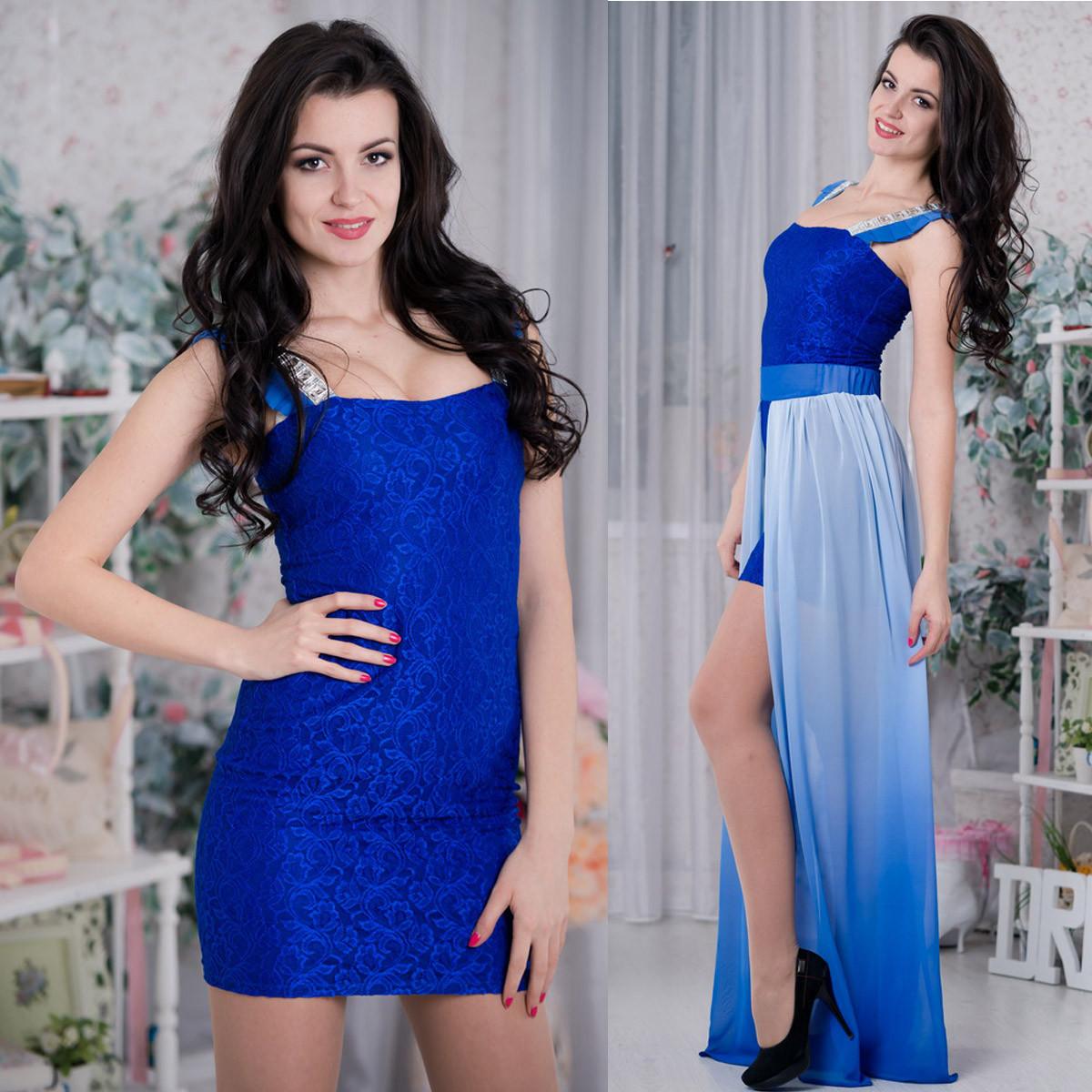 """Вечернее синее платье-трансформер с шифоном размер S """"Джесси"""""""