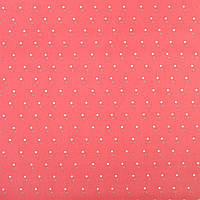 """Коттон Хлопковая ткань """"Darling"""" коралловый в белые и серые точки, ш.150 итальянская ткань"""