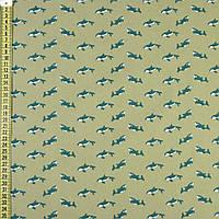 """Коттон Хлопковая ткань """"Darling"""" оливковый в зеленые косатки, ш.150 итальянская ткань"""