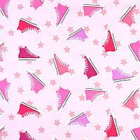 """Коттон Хлопковая ткань """"Darling"""" розовый в разноцветные кеды, ш.136 итальянская ткань"""