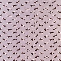 """Коттон Хлопковая ткань """"Darling"""" сиреневый в коричневые косатки, ш.150 итальянская ткань"""