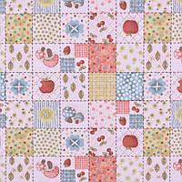 Коттон ( хлопок, хлопковая ткань ) Англия персиковый пэчворк клетка с грибами. яблоками ш.110, итальянская тка