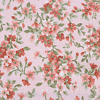 Коттон ( хлопок, хлопковая ткань ) Англия персиковый в терракотовые цветы ш.110, итальянская ткань ( из Италии