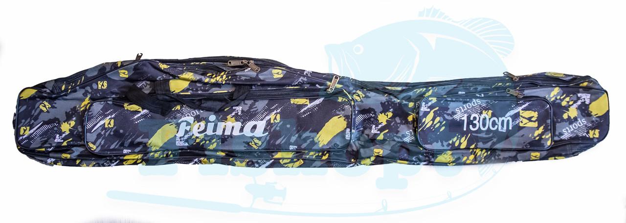 Чехол для удочки дубок с карманом под катушку Feima   Yellow Pixel   150см