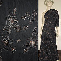Ткань рубашечная черная с бежевый вышивкой хлопок хлопковая натуральная