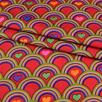 Коттон ( хлопок, хлопковая ткань ) Druck красный в цветную чешую с сердечками ш.140, итальянская ткань ( из Ит
