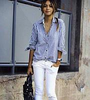 Полосатая рубашка (ткань: сатин) Размеры: S, M, L . Фабричный Китай