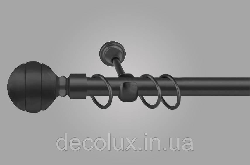Чорний матовий Карниз для штор металевий, однорядний 19 мм (комплект) ЕМ-234