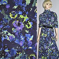 414352419 - Коттон т/синий с фиолет-салат. цветами стр. ш.140