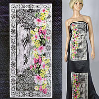 Коттон ( хлопок, хлопковая ткань ) сатин черный в горох с картинками и цветами рапорт ш.141, итальянская ткань