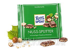 Шоколад молочный Ritter Sport Nuss Splitter (Риттер Спорт с лесными орехами), 100 г