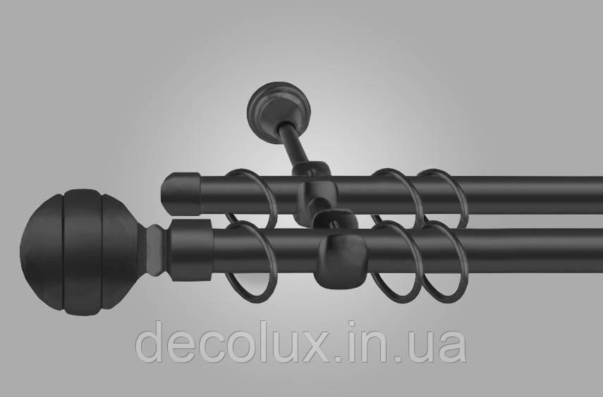 Черный матовый Карниз для штор металлический, двухрядный 19 мм (комплект) ЕМ-234