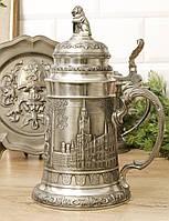 Коллекционный оловянный бокал, пищевое олово, Германия, 1 литр, фото 1