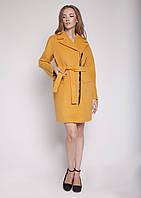 """Женское демисезонное пальто фасона """"кокон""""  V-g Рокси горчица горчица, 42"""