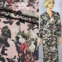 Коттон ( хлопок, хлопковая ткань ) стрейч розовый в зелено-терракотово-белые орхидеи ш.150, итальянская ткань