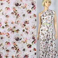 Коттон ( хлопок, хлопковая ткань ) -сатин Apanage белый в персиково-зелено-розовые цветы ш.143, итальянская тк