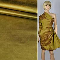 Шелк ( шелковая ткань ) атлас ( атласная ткань ) плотный золотой с красным отливом ш.138, итальянская ткань (
