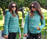 Женская короткая демисезонная куртка с капюшоном. Ткань: плащевка. Размер: 42,44,46,48.
