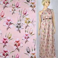 Коттон ( хлопок, хлопковая ткань ) сатин бледно-розовый в розовые, коричневые тюльпаны ш.141, итальянская ткан