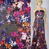 Коттон ( хлопок, хлопковая ткань ) сатин темно-серый в фиолетово-розовые цветы ш.141, итальянская ткань ( из И