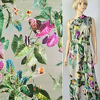 Коттон ( хлопок, хлопковая ткань ) сатин оливковый в зелено-розовые листья и цветы ш.141, итальянская ткань (