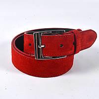 Кожаный ремень красного цвета унисекс