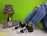Кроссовки суперстар чёрные с брендовыми значками, женская обувь