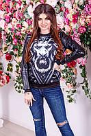 """Женский трикотажный свитшот """"LION"""" с принтом и кожаными рукавами (большие размеры)"""