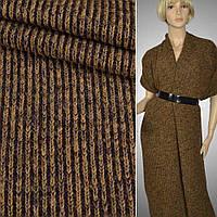 Валянный Трикотаж ( трикотажная ткань ) Melange Rippenst коричнево-горчич круп резинка ш.140, итальянская ткан