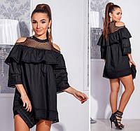 Женское свободное короткое платье с открытыми плечами. Ткань: ситец. Размер: 42-44.