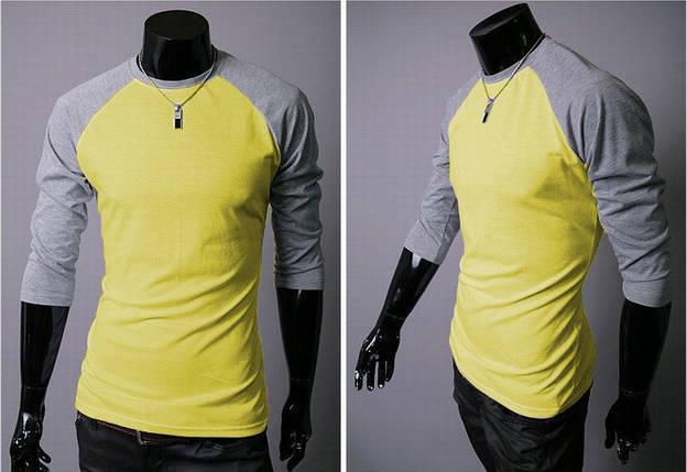 Пуловер мужской с рукавами реглан желтый, фото 2