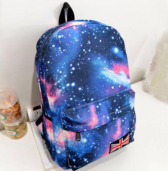 Рюкзак школьный Космос Галактика. С небольшим Дефектом ! Синего цвета.