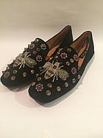 Черные бархатные балетки в стиле Gucci , копия