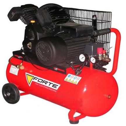 Масляный ременной двухцилиндровый компрессор 2.2 кВт FORTE для покраски 50 л,10 атм, 420 л на входе, фото 2