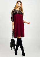 Нарядное женское платье с кружевом Марьяна бордовое
