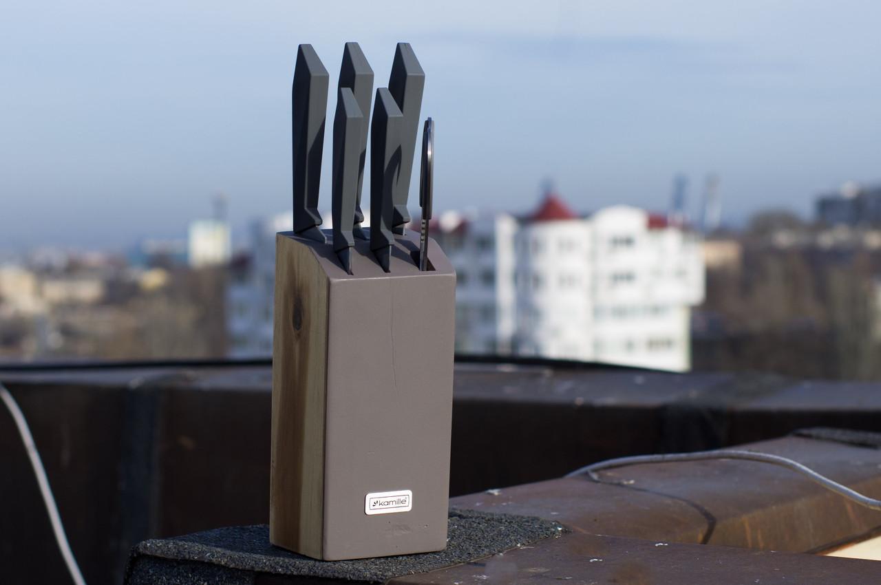 Набор Kamille 5044 кухонные ножи на подставке 7 предметов
