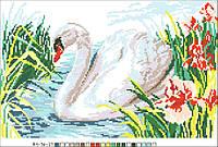 Картинка на канве А-4 Лебедь