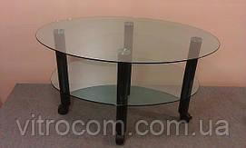 Журнальний столик Еліпс-міні-2 тонований з каленным склом