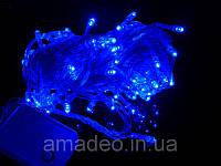 Внутренняя Гирлянда светодиодная нить, 100 led  белый прозрачный провод - цвет синий, фото 1