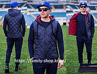 Костюм спортивный тройка XXL, синий+бордо