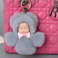Меховой брелок на сумку Куколка