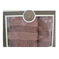 Подарочный набор махровых полотенец Кофейные с рисунком