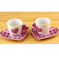 Чашки с блюдцем Сердечко в наборе