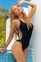 Купальник женский сдельный секси с открытой спиной та чашками чорний, розмір 44 46