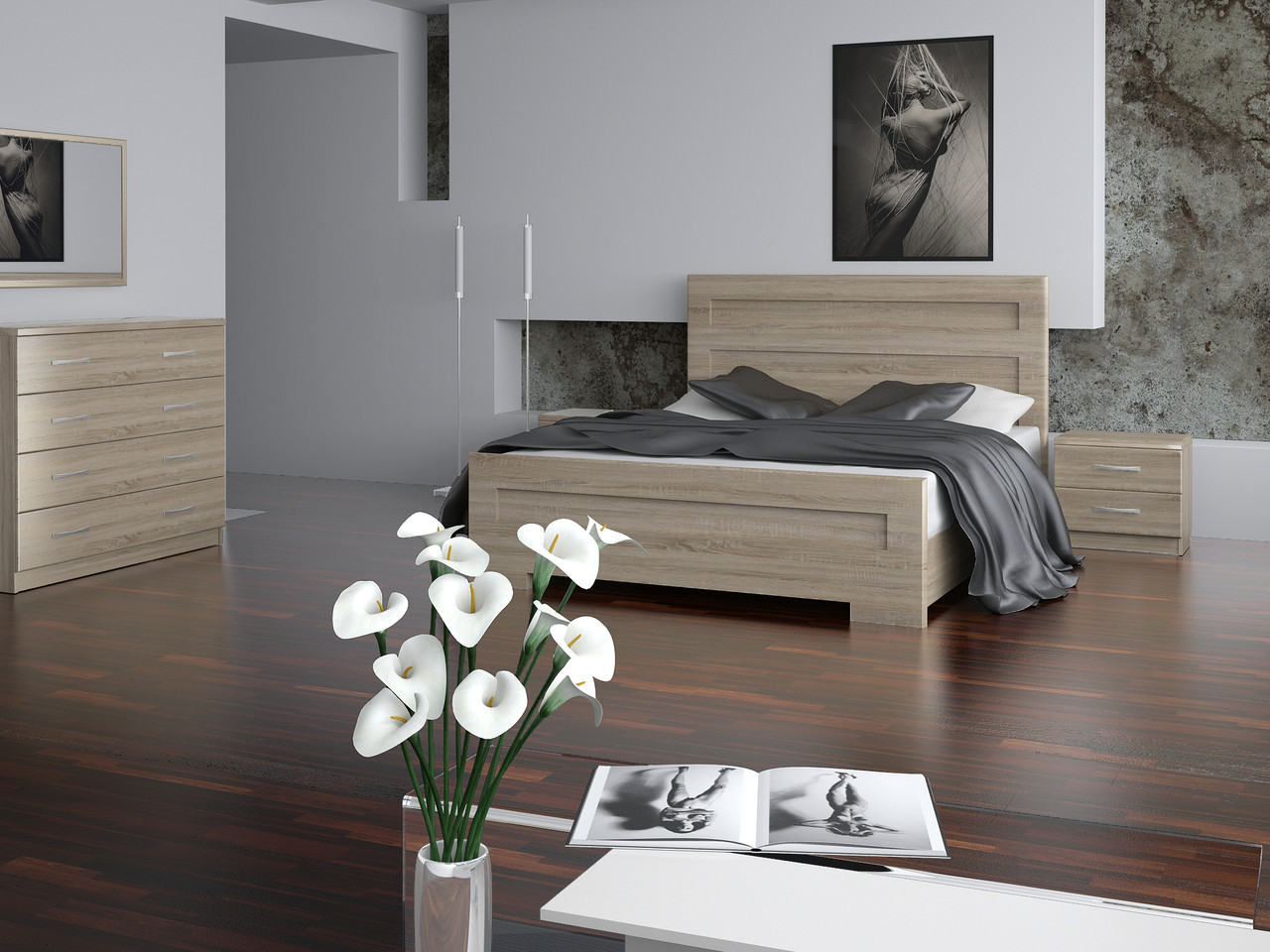 Кровать Кармен 1,4 м дуб сонома
