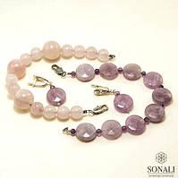 Комплект браслетов и серьги, аметист и розовый кварц