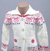 Кофточка свитер для девочки на пуговицах  молочная 3-4 года, 5-6 лет