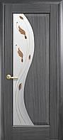 Дверное полотно Эскада со стеклом сатин и рисунком (Grey / ПВХ DeLuxe)