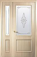 Дверное полотно Вилла со стеклом сатин и рисунком (Ясень / ПВХ DeLuxe)